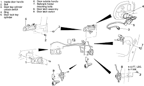car door latch assembly. 1: Door Lock Cylinder And Related Components-1990-94 Vehicles With Manual Locks Car Latch Assembly