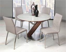 pastel furniture judith round champagne glass top dining table in stainless steel and walnut ju 510 4716