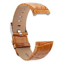 genuine leather replacement watch band bracelet strap belt for fitbit charge 2 brown