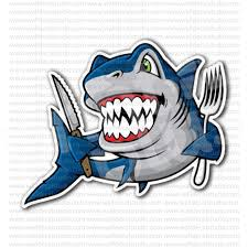 funny shark fish ready to eat fishing sticker