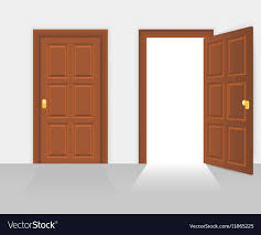 open and closed house front door vector image
