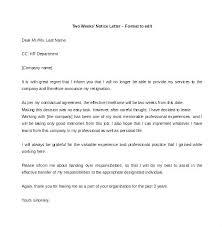 2 Week Notice Letter For Work Two Week Resignation Letter 2 Weeks Notice Download Format