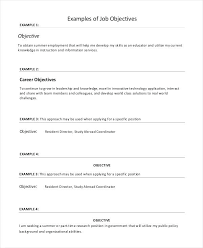 What Is Objectives On A Resume Examples Of Job Objectives Resume
