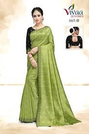 Surat Designer Sarees Online Vivaa Designer Black Apple Cotton Base Designer Saree Online