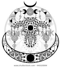 Dream Catcher Symbolism Enchanting Cow Skull Moon Symbols Dreamcatcher Earrings Stock Vector Royalty