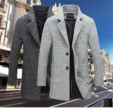 new long trench coat men brand clothing winter fashion mens overcoat 40 wool thick grey