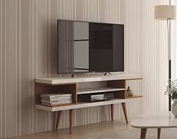 mid century tv. Perfect Mid Amazoncom Manhattan Comfort Utopia Collection Mid Century Modern TV Stand  With Open 3 Shelves And Two Cubbies WhiteWood Kitchen U0026 Dining On Tv E