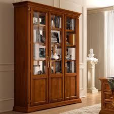 treviso ornate cherry wood 3 door glass display cabinet