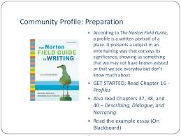 essay lecture community profile preparation