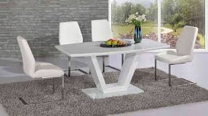 full white glass high gloss dining table and 4 chairs set