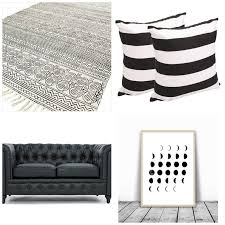 Black home decor Minimalist Black Chesterfield Couch Black And White Rugs Black And White Art Black And Thirty Eighth Street 22 Black And White Home Decor Pieces Youll Love Thirty Eighth Street