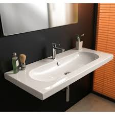 bathroom sink tecla edw3011 rectangular white ceramic wall mounted or drop in sink