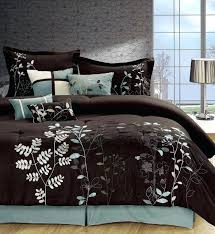 blue and brown comforter set queen chocolate brown blue leaf print comforter set queen blue and brown comforter