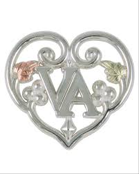 Sterling Silver Heart In Word Va Tie Tac Lapel Pin Earrings 60026 Gs