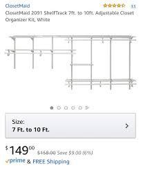 closetmaid 2091 shelftrack storage system