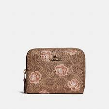 COACH Official Site Official page SMALL ZIP AROUND WALLET IN SIGNATURE ROSE  PRINT