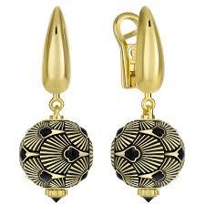 Золотые <b>серьги</b> с <b>черными</b> бриллиантами, желтое золото 585 ...