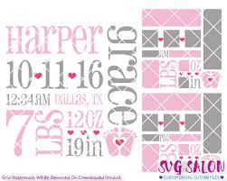 newborn baby announcement sample baby girl birth announcement template svg cut file set