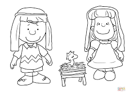 Charlie Brown Christmas Nativity Coloring Page Free Printable