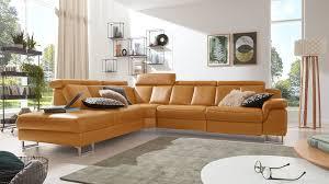 Interliving Sofa Serie 4050 Eckkombination Kurkumafarbenes Longlife Leder Cloudy Chromfüße Schenkelmaß Ca 261 X 3