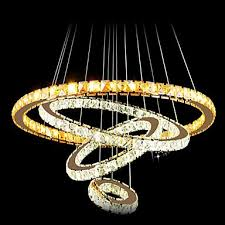 led crystal pendant light ceiling chandelier k9 clear crystal round 4 rings large ring warm