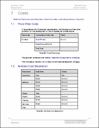 Cost Proposal Templates rfp cost proposal template writing the risk analysis section for 11