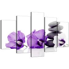 extra large flowers canvas wall art panel in purple fl display gallery item five part