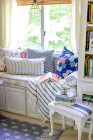 diy window seat reading nook in our country cottage style master bedroom