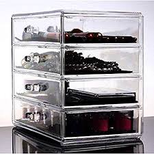 image unavailable image not available for color heavy duty clear acrylic cosmetic makeup organizer with 4 drawers flip top for