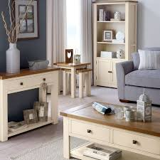 delivery dorset natural real oak dining set: cream  cream living room furniture cream stained wooden table with lower shelf grey elegant fabric sofa share henley cream living furniture collection