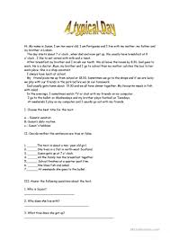 A Typical Day English Esl Worksheets