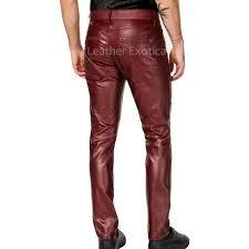 slim fit men faux leather pants back