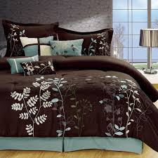 Light Blue and Brown Bedding | Bliss Garden 8-Piece Brown ... & Light Blue and Brown Bedding | Bliss Garden 8-Piece Brown Comforter Set Adamdwight.com