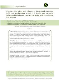 pdf pare the safety and efficacy of loteprendol etabonate 0 5 and prednisolone acetate 1 in the post operative inflammation following cataract