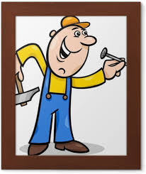 Pracovník S Nehty Kreslené Ilustrace