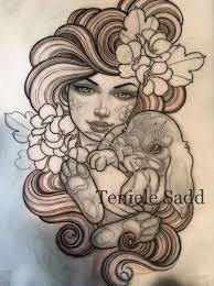 эскиз татуировки девушки с кроликом тамблер татуировки идеи для