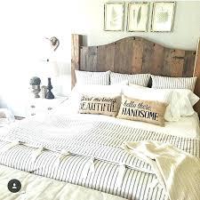 ticking bedding duvet stripe farmhouse wood headboard light blue uk