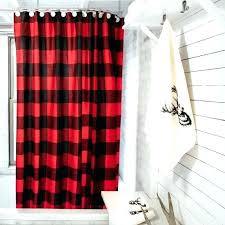 bathroom check log cabin decor curtains trendy hunter in a traditional red and black contrast style rustic ideas che