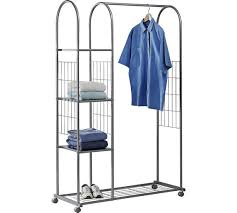 Good HOME Clothes Rail With Shelves   Silver