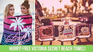 free victoria secret beach towel