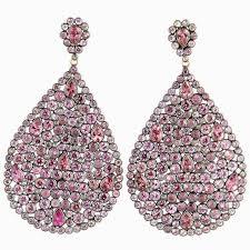 lovely impressive large pink sapphire diamond dangling earrings for large chandelier earrings