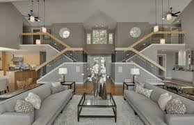 gray living room and staircases