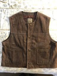 brown leather biker vest