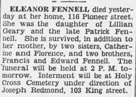 Obituary for ELEANOR FENNELL - Newspapers.com