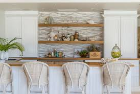 kitchen wallpaper with open shelves