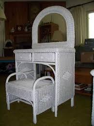 Magnificent Wicker Vanity Set Wicker Bedroom Set White White