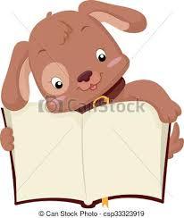cute dog open book csp33323919