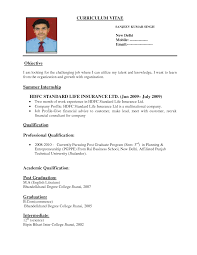 Format Of Resumes Free Job Cv Example