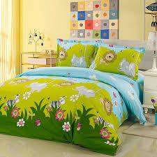 boys hunter green lime and light blue jungle safari themed ladybug elephant zebra lion print 100 cotton twin full size bedding sets