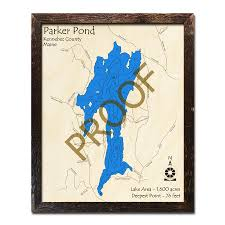 Cobbosseecontee Lake Depth Chart Parker Pond Me 3d Nautical Wood Maps